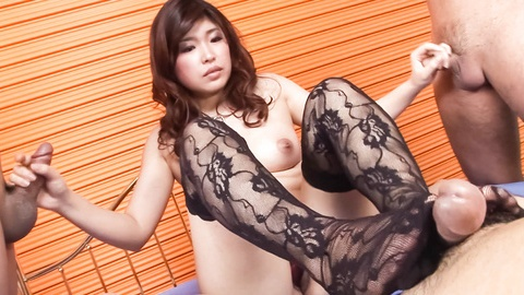 Ai Okada gets vibrator in hot threesome