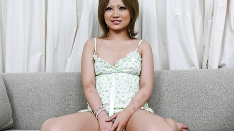 Asian hottie Ai Shirosakia toy-fucking with her legs wide open