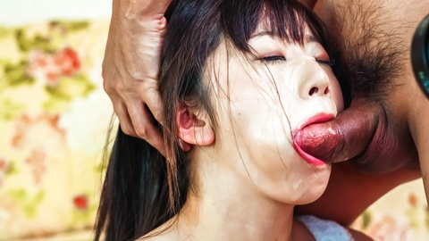 Black-haired Asian chick Shizuku gagged on two stiff mushroom heads