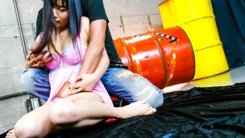 Chiharu asian giving blowjob to multiple guys