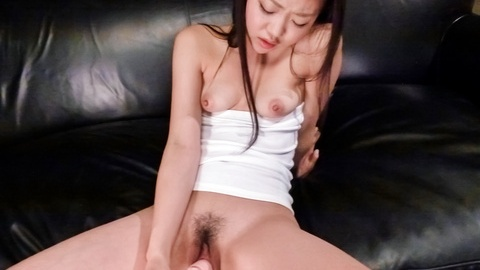 Cutie Akina Nakahara masturbates and gives a japanese blowjob