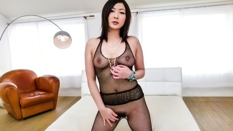 Megumi Haruka Toys Herself in Fishnets and Sucks Cock