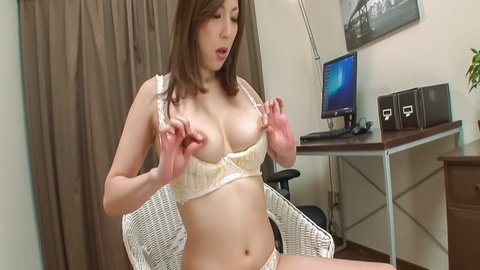Mirei Yokoyama fucks herself with an asian vibrator