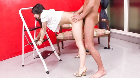 Sex-hungry babe Nana Kunimi gagging and screwed on the couch