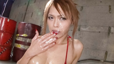 Sexy Rina gets lot of sperm on her cute face