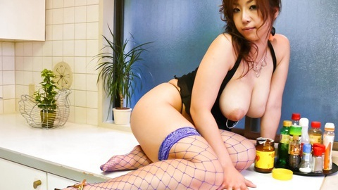 Spreading her legs on the counter Naho Hadsuki gets teased