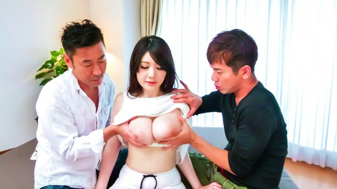 Stacked Rie Tachikawa gets an asian creampie from two guys