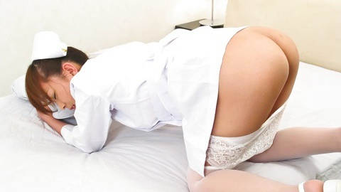 There is a lovely pussy under Miina Minamotos nurse uniform