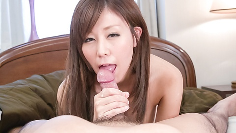 Superb Asian blowjob by busty Chihiro Akino