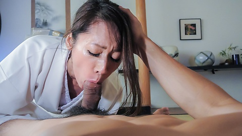 Asian mature takes good care of cock in premium XXX